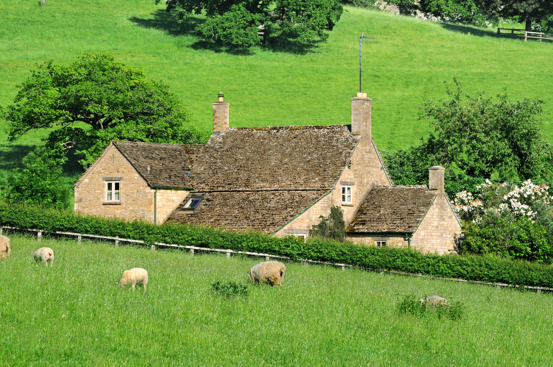 Farmhouse in English countryside of Cotswolds